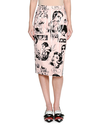 Comic-Print Pencil Skirt