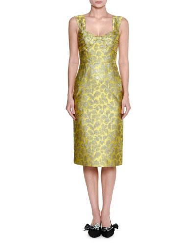 Twist-Front Lamé Brocade Dress