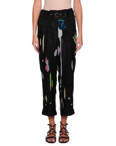 Silk Printed Straight-Leg Ankle Pants