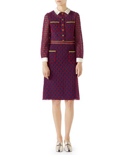 Long-Sleeve GG Macrame Dress w/ Satin Collar and Cuffs