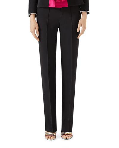Slim Straight-Leg Pintuck Pants