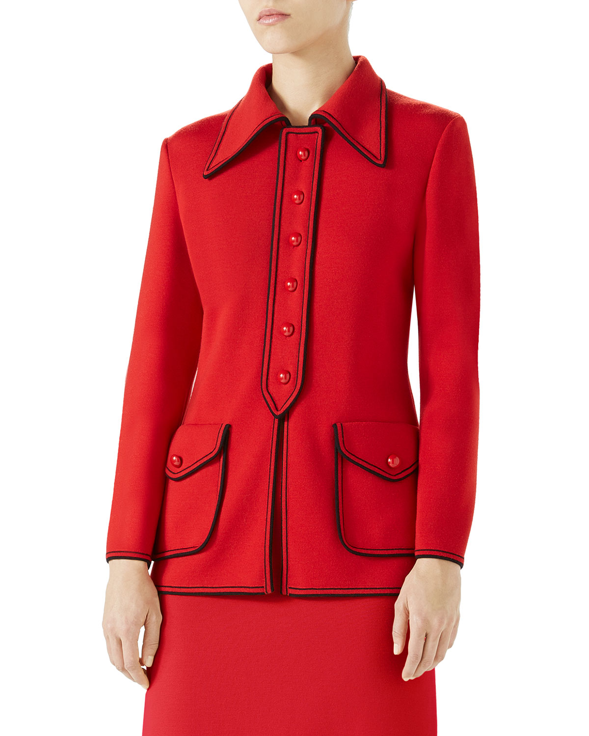 Long-Sleeve Polo-Neck Fine Wool Cardigan With Guciffy Stamp, Red/Black