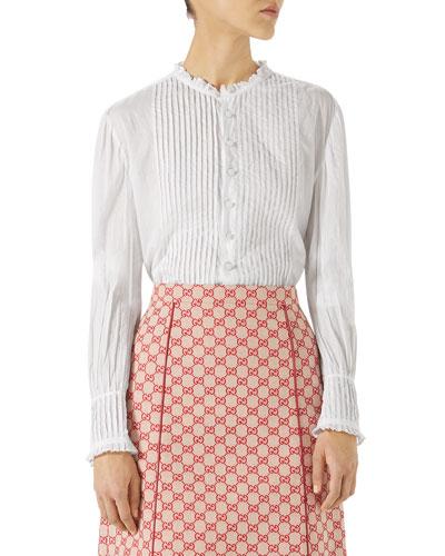 Long-Sleeve Button-Down Pintuck Cotton Shirt
