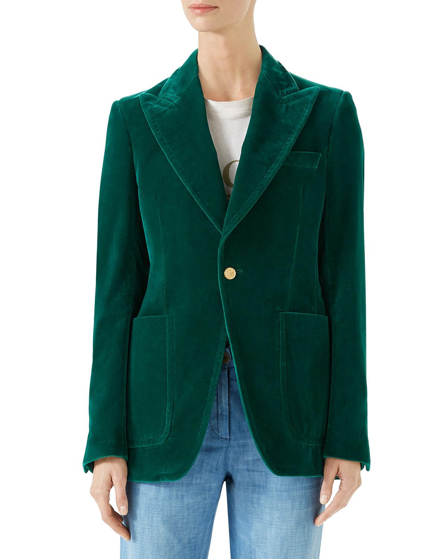 Peak-Lapel Single-Breasted Velvet Jacket