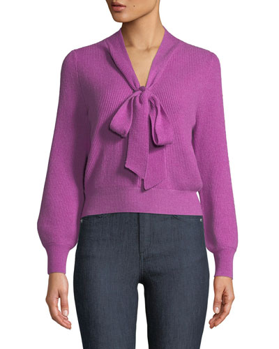 Tie-Collar Ribbed Cashmere Knit Pullover Sweater