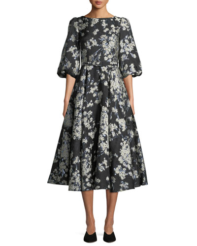 Bubble-Sleeve Fit-and-Flare Metallic Brocade Cocktail Dress