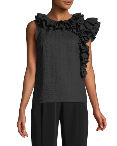 Sleeveless Embroidered Cotton Voile Top w/ Ruffle Detail