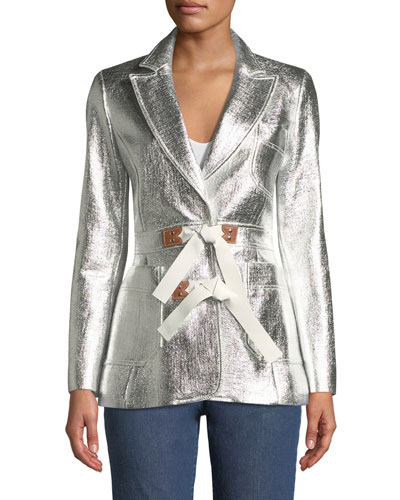 Metallic Coated Tweed Jacket w/Fur Trim