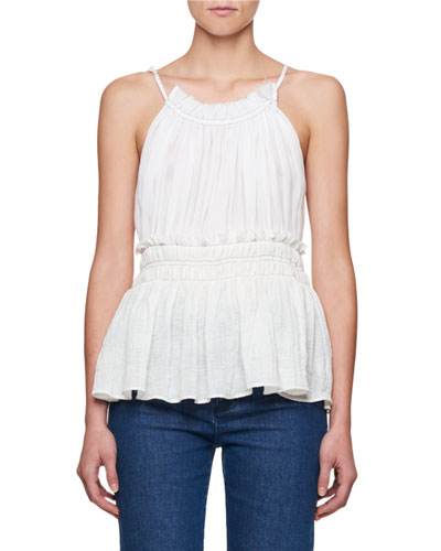 Ruched Gauze Tie-Neck Top