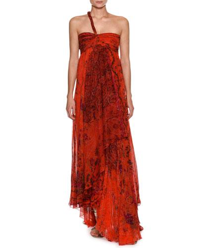 Asymmetric One-Shoulder Silk Gown
