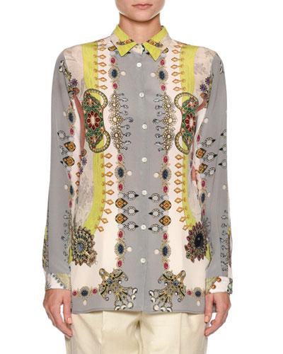 Jewel-Print Silk Blouse