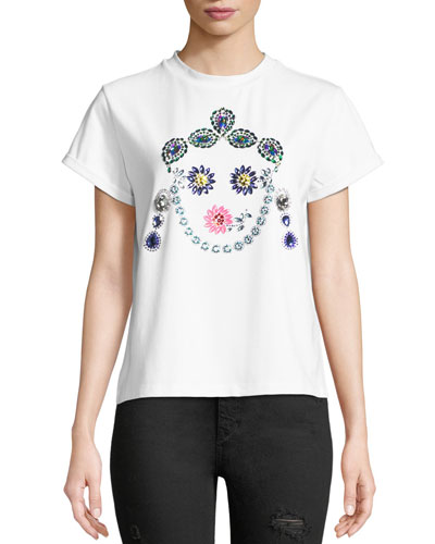Crown Jeweled Face T-Shirt, White