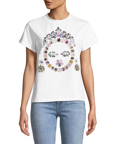 Jeweled Face T-Shirt, White