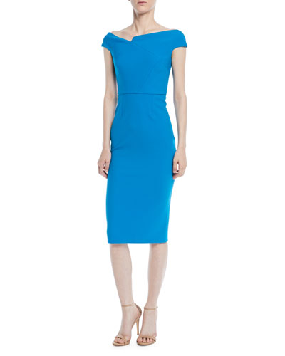Off-the-Shoulder Cap-Sleeve Crepe Sheath Dress