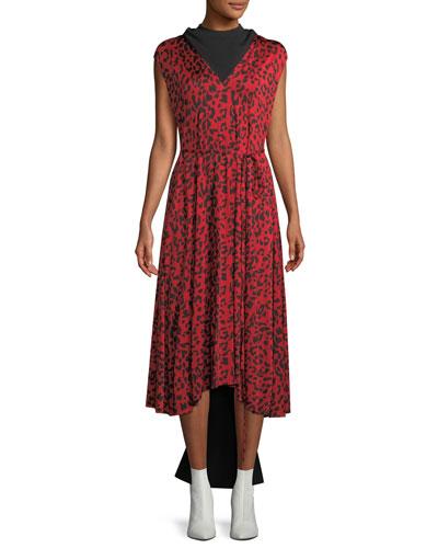852fa1446617 Sleeveless Tie-Waist Leopard-Print Silk Midi Dress w/ Back Panel