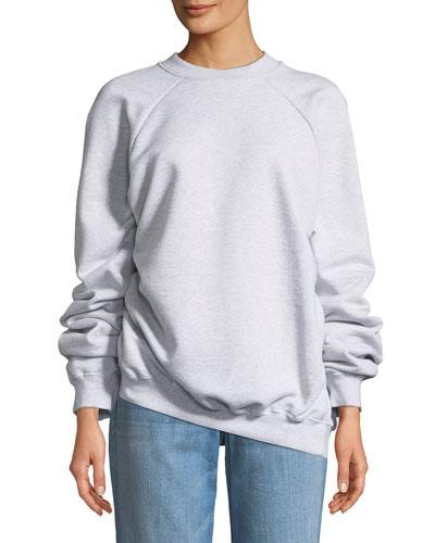 Unskinny Crewneck Cotton Jersey Sweatshirt