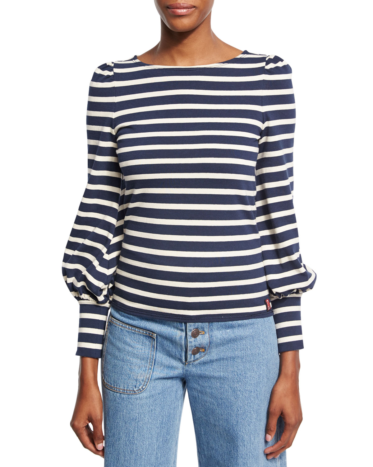 MARC JACOBS STRIPED BOAT-NECK PUFF-SLEEVE TEE, NAVY