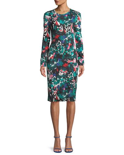 Crewneck Long-Sleeve Floral-Print Knee-Length Cocktail Dress