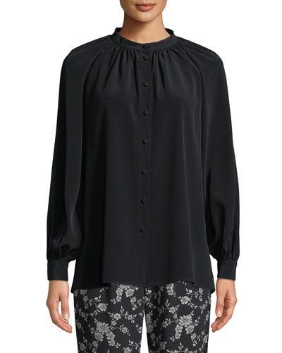 Long-Sleeve Button-Front Crepe Blouse