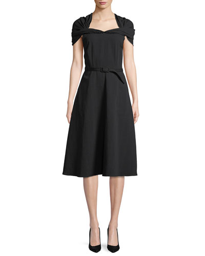 Ruched-Top Belted Fit-and-Flare Tea-Length Cocktail Dress
