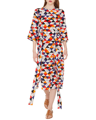 Elbow-Sleeve Diamond-Print Silk Crepe Midi Dress with Tie-Waist Detail