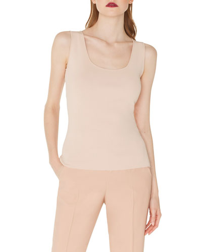 Scoop-Neck Knit Viscose Crepe Tank Top