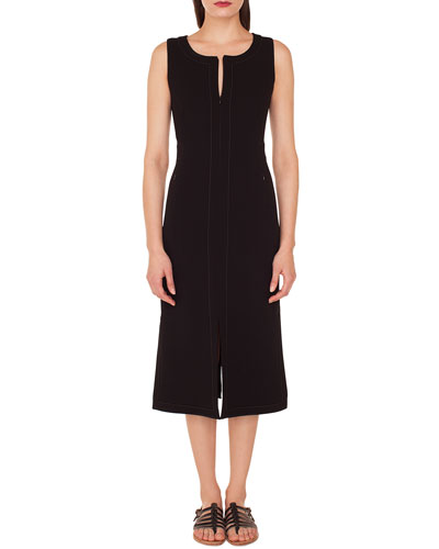 Sleeveless Round-Neck A-Line Stretch-Wool Midi Dress with Topstitching