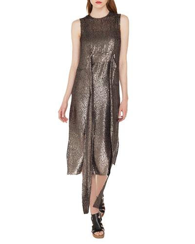 Sleeveless Self-Belt A-Line Metallic Silk Dévoré Cocktail Dress