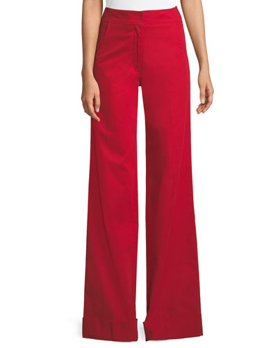 Flat-Front Wide-Leg Cuff Stretch-Cotton Trousers