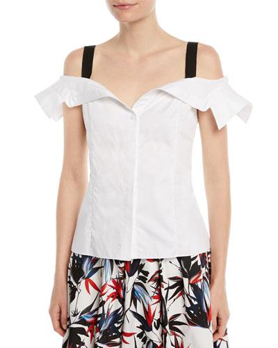 Off-the-Shoulder Button-Down Cotton Top