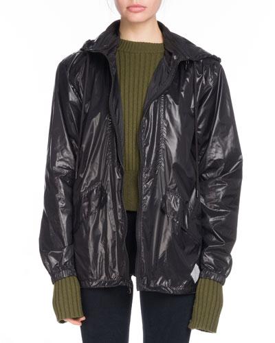 PSWL Hooded Zip-Front Nylon Wind-Resistant Jacket