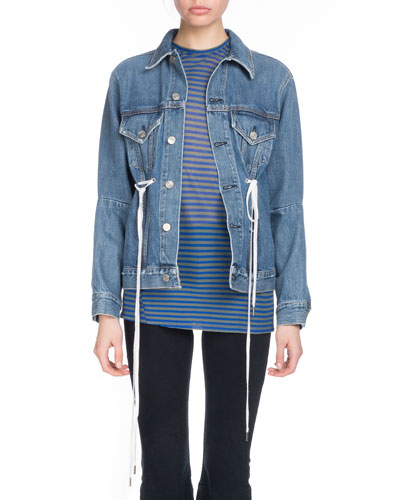 Button-Down Denim Jacket w/ Shoelace Ties