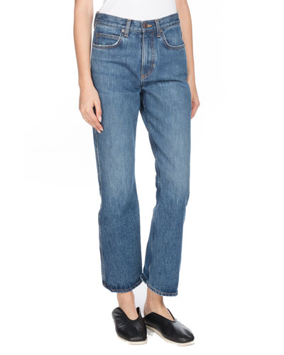 Cropped Flare Straight-Leg Jeans
