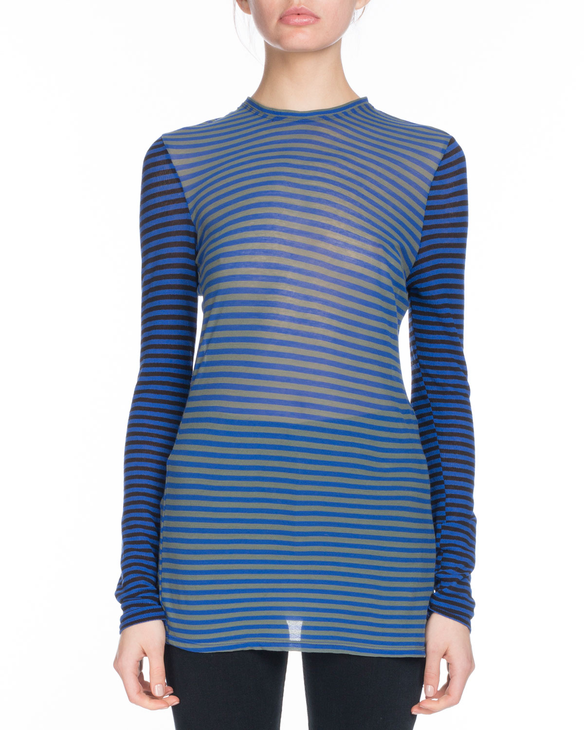 PSWL Striped Jersey Top - Black Proenza Schouler