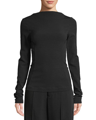 Long-Sleeve High-Neck V-Neck Fitted Top