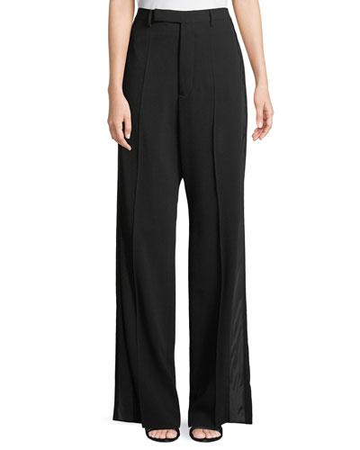 High-Waist Wide-Leg Crepe Pants w/ Tux Stripe