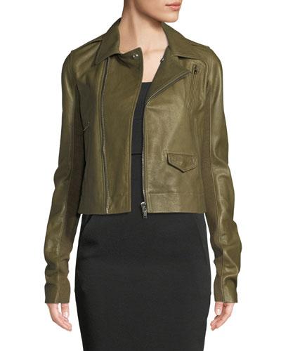 Zip-Front Lamb Leather Biker Jacket