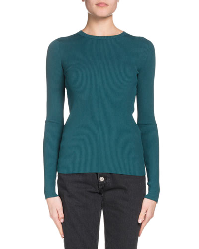 Logo-Back Crewneck Long-Sleeve Ribbed Sweater