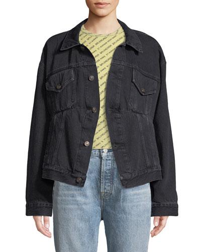 Button-Front Denim Swing Jacket