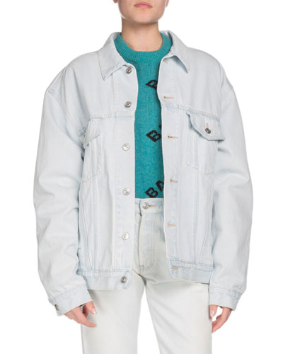 Embossed-Logo Button-Down Denim Jacket