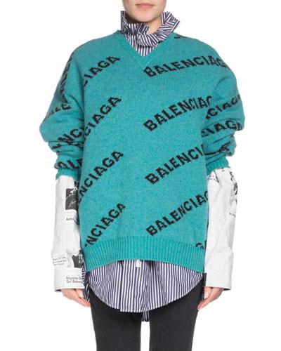 V-Neck Long-Sleeve Logo-Jacquard Wool Sweater