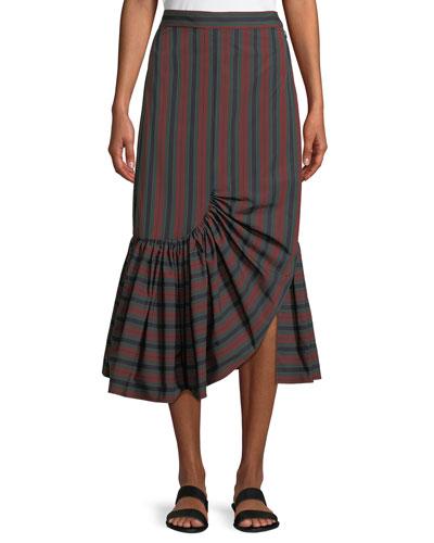 Barcode Stripe Ruffle-Hem Skirt