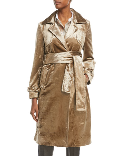 5abe09c41114 Notched-Collar Belted Velvet Trench Coat