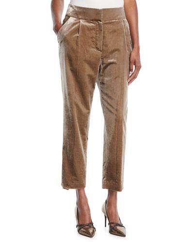 High-Rise Straight-Leg Crushed Velvet Pants
