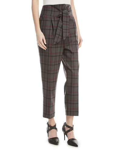 077c794d84721 High-Waist Tie-Front Tapered-Leg Plaid Wool Pants