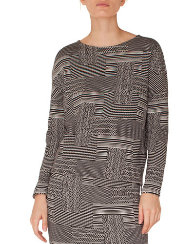 Akris punto Crewneck Long-Sleeve Patchwork Knit Jacquard Top