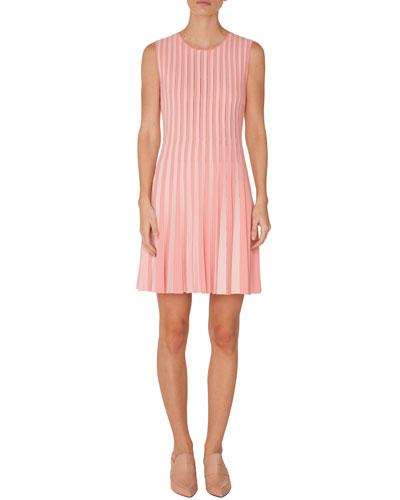 Crewneck Sleeveless Striped Pleated Dress