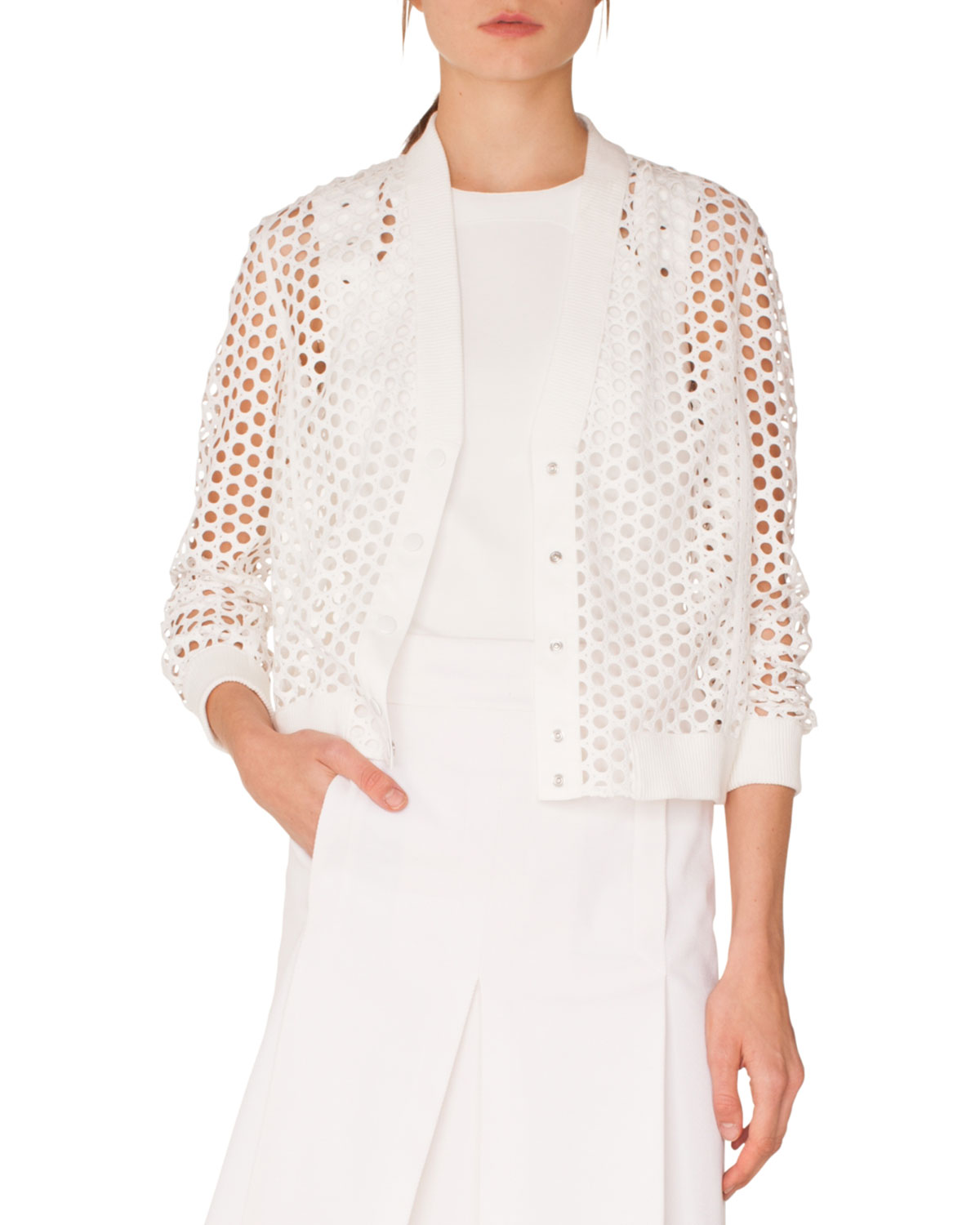 V-Neck Press-Button Lace Bomber Jacket