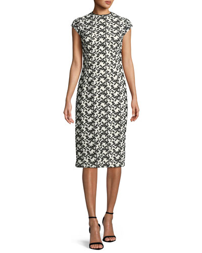 6bbc0c60be78 Cap-Sleeve Dotted Floral-Lace Fitted Sheath Dress Quick Look. Lela Rose