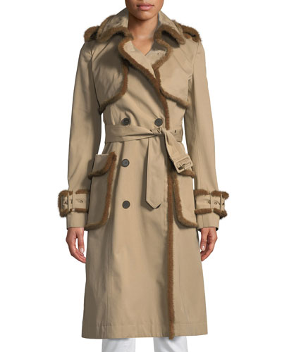 Mink-Trimmed Double-Breasted Trench Coat
